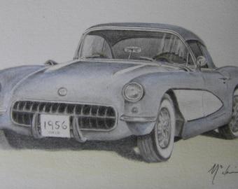 Car art graphite pencil drawing blue watercolor wrench tool Corvette 1950s vintage automobile illustration shadowbox m3DrawingsPlus