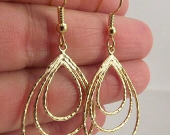 Delicate Gold Loopy Earrings, Gold Earrings, Gold Teardrop Earrings, Gift under 30