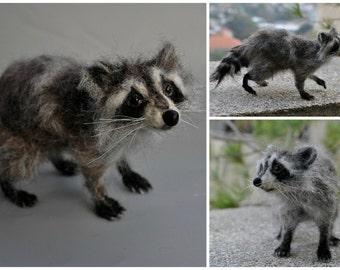 Needle Felted   Animals. Raccoon. Needle Felted Raccoon. Felt Raccoon Sculpture. Made for custom orders