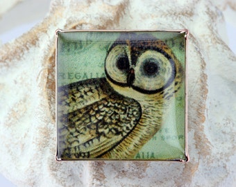 Owl Resin Adjustable Ring
