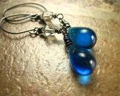 Cobalt blue Glass teardrop Earrings swarovski crystal oxidized gray Sterling Silver Long Fashion dangle water blue periwinkle