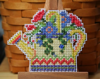Floral Watering Can Cross Stitched and Beaded Ornament, Magnet, or Pin - Free U.S. Shipping