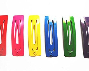 24 Pcs Rectangular Hair Snap Clip for Girl Size 14 X 50 Mm Mix bright Color