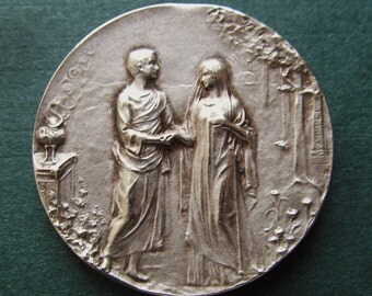 Antique French Sterling Marriage Religious Medal Signed Mattei Art Nouveau Silver Wedding SS03