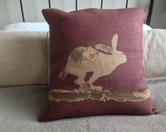 handprinted mulberry hessian applique hare cushion cover