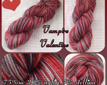 Fingering/Sock Hand Painted yarn 438 yds  RTS - A Vampire Valentine™-