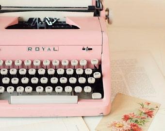 Vintage pink typewriter PHOTO print