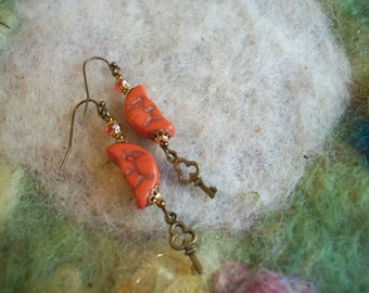 Crescent Moon Earrings, Orange Moon Beaded Earrings, Bronze Key Charm