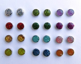 Magnetic Sparkle Round Earrings Clip on non pierced ears