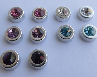 Magnetic Rhinestone Charm Crystal Stone Earrings Clip on non pierced ears