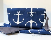 READY TO SHIP - Zippered Diaper Clutch and Changing Mat Set - In Nautical Anchor in Navy with Grey Or Custom Design Your Own