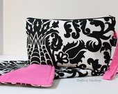 CLEARANCE SALE - Ready To Ship  - Zippered Diaper Clutch and Changing Mat Set - In Amsterdam Damask with Pink