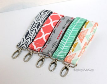 Key Chain / Key Fob - Swivel Clasp Key Wristlet - Choose Your Fabric - Sale