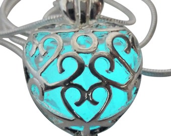Wishing Heart pendant  Fairy Magical Fairy Glow in the Dark Necklace-aqua-silver  Steampunk Victorian
