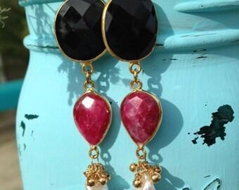 Earrings Black Onyx Dyed Ruby and Freshwater Pearl Dangle