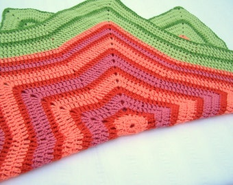Baby blanket hand crochet orange green peach pink 40 inch star shape lap blanket gift for baby elderly cozy warm snuggle up blanket