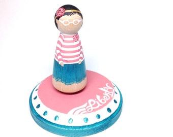 peg doll cake topper - the custom collection - custom birthday cake topper