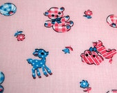 Vintage Retro Fabric Baby Animal Nursery Print