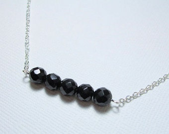 Onyx Gemstone Necklace, Black Onyx Bead Bar, Minimalist Jewelry, Everyday, Layering