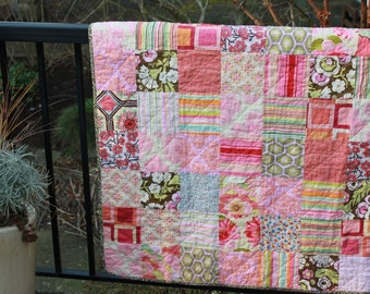 PInk Patchwork Baby Quilt