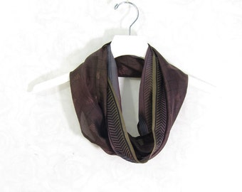 Dark Brown Scarf Infinity Scarf Silk Scarf Sari Scarf Gift for Her Summer Scarf Spring Scarf Lightweight Scarf Upcycled Scarf Fall Scarf