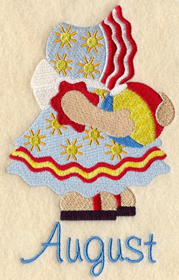 Sunbonnet Sue August Large Machine Embroidery Quilt Block
