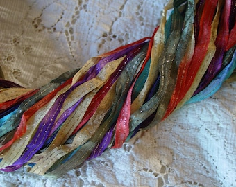NEW - Hand dyed GYPSY WAGON quarter inch dazzle ribbon, 5 yards