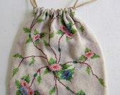 Unbelievable Victorian Micro Beaded Purse With Flowers-Handmade