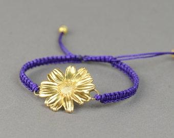 Sterling silver Vermeil real daisy flower bracelet