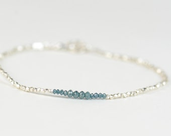 Faceted Blue Diamond and sterling silver beads  bracelet