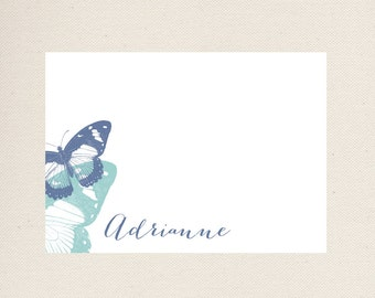 Butterfly Personalized Notecards, glittered