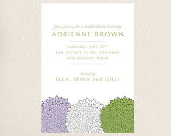 Zinnia Bridal Shower Invitations