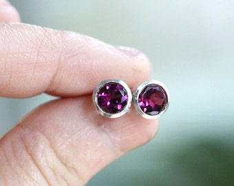 Rhodolite Garnet Sterling Silver Ear Studs, Birthstone, No Nickel / Nickel Free - Made to Order