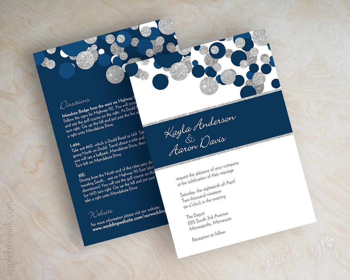 Dark Blue Wedding Invitations: Navy Blue And Silver Glitter Polka Dot Wedding Invitations