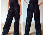 90s Velvet Pants, Black Crushed Velvet Pants, High Rise Palazzo, Ultra Wide Leg, High Rise, Palazzo, High Waisted Trousers, Small Medium
