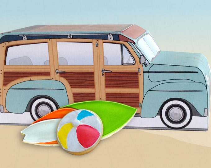 Aqua Retro Woodie Surfer Wagon Box - great as cupcake box, gift box or favor box - INSTANT Download DIY Printable PDF Kit