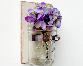 shabby chic sconce Cottage Decor vase wood single vase - Vintage White