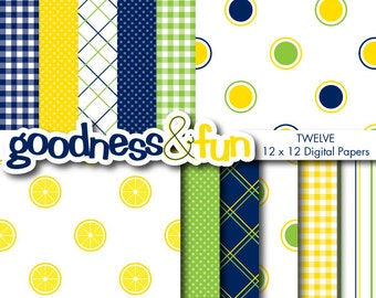 Buy 2, Get 1 FREE - Lemonade Stand Digital Papers - Digital Lemonade Stand Paper Pack - Instant Download