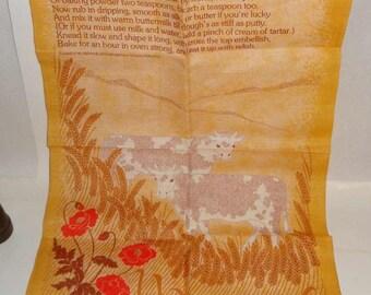 Vintage Fingal 100% Irish Linen Towel Ireland Irish Soda Bread Recipe