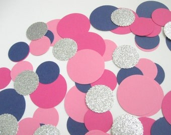 Pink Navy Confetti - Parties/Showers/Weddings/Gender Reveal/Nursery Wall Art- Party Paper Decorations - Table Scatter Confetti