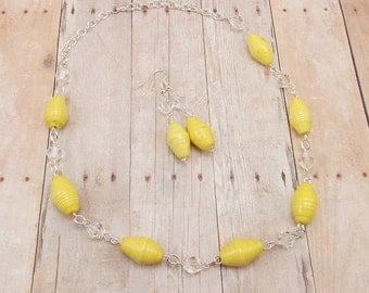 Paper Bead Necklace and Earrings - Rwandan Paper Beads - Light Yellow with Silver and Clear