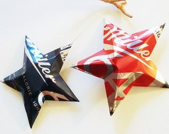 Miller 64 Lite Beer Stars Christmas Ornaments Aluminum Can Upcycled Light