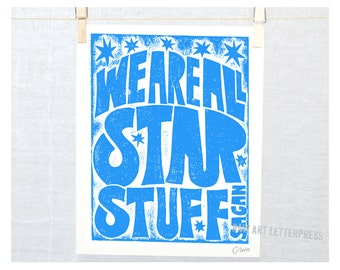 We are All Star Stuff, Wall Art, Science Poster,  Astronomy Art, Girl Power, Science Quote, Boys Room Art