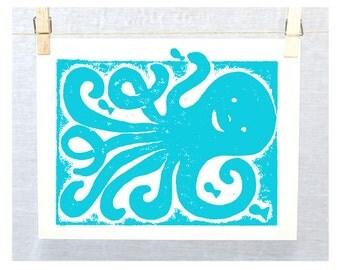 Cute Octopus Wall Art, Raw Art Letterpress, Nautical, Beach Cottage Decor, Marine Nature, Nursery Art Print, Ocean Theme