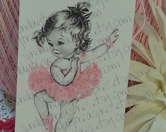 12 PINK Vintage Ballerina Baby Girl / Favor TAGS / Birthday Baby Shower / Shabby Chic Favor Bag / Label / Large  (ref-ts)