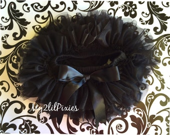 BLACK TUTU Bloomer, ruffles all around,Chiffon Baby Bloomer, Tutu Diaper cover,newborn tutu,photo prop, newborn bloomer- SALE- ready to ship