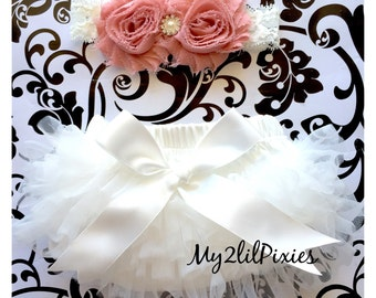 Baby Girl Set- Ruffle TuTu Bum Baby Bloomer satin bow and Inspired Old Rose Vintage Shabby Chic Frayed Flower Pearl Center on Lace Headband