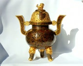 Cloisonne Censor with Foo Dog Incense Burner, Enamel, Metal with Gold Hightling, Collectible Religious Alter