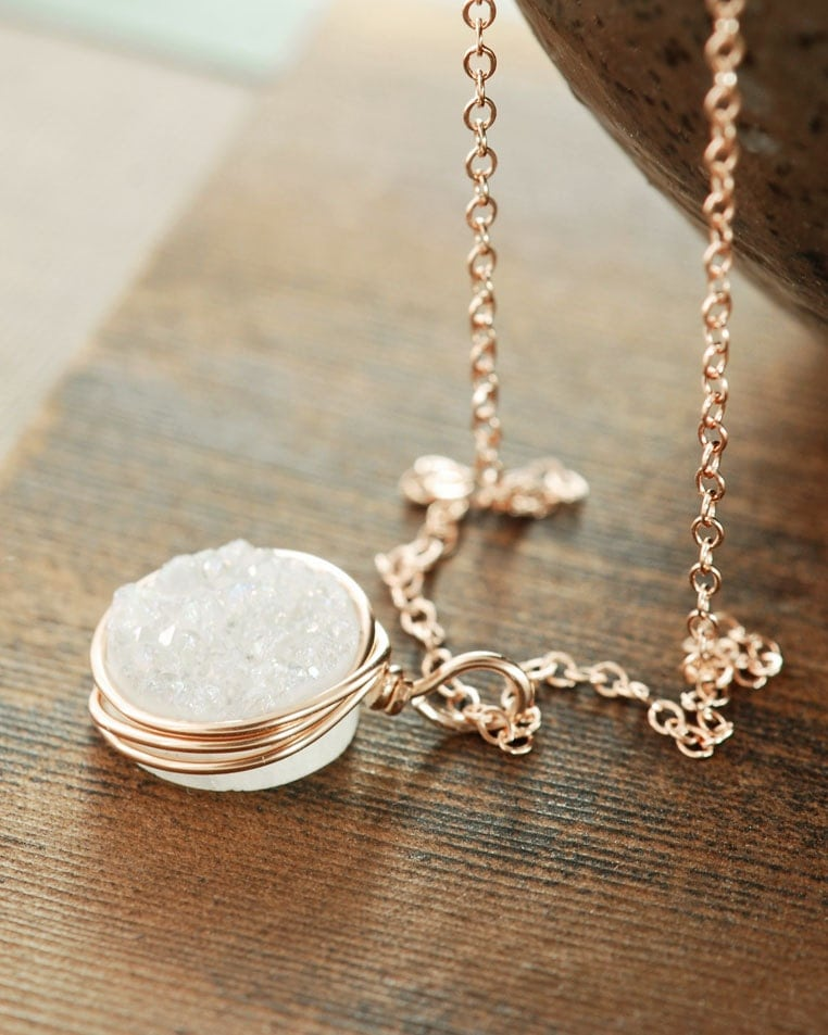 White Druzy Rose Gold Necklace Druzy Jewelry 14k Rose Gold