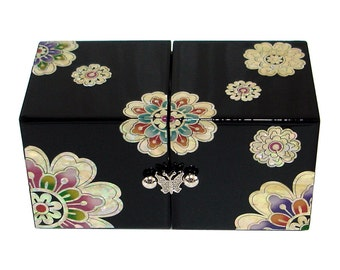 Mother of Pearl Inlay Lacquer imaginary Flower Design Twin Cubic Wooden Jewelry Trinket Treasure Keepsake Chest Box Case Holder Organizer